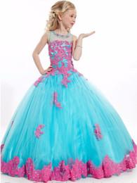 Canada 2017 Élégant Applique Fleur Fille Robe Long Aqua Bleu Pageant Robes De Bal pour les filles à Fête / Filles Beautyful Filles Pageant Robes supplier aqua blue tulle Offre