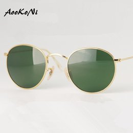 Wholesale Unique Mirror Frames - AOOKONI 2016 Fashion Sunglasses Women Mirror Shades Brand Designer Round man Unique Style Metal Frame Classic Sunglasses With Box 50mm
