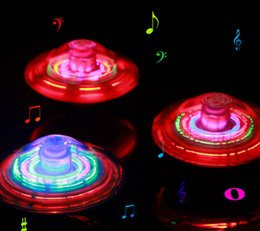 Wholesale Electric Music Rotating - Free Shipping -2017 fidget spinner hot Selling new electric light-emitting gyro drift UFO flash music automatically rotate new +Free Gift