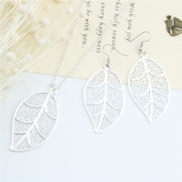 Wholesale African Jewelery - Jmyy Jewelery Fashion Necklace Jewelry Sets Hollowed-out Leaf 925 Silver Plated Earrings & Necklace For Girlfriend Gift
