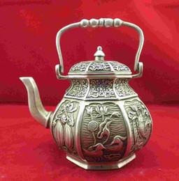 Wholesale Phoenix Teapot - Chinese old miao silver Mandarin duck Fish Phoenix Teapot free shipping