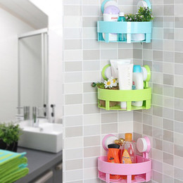 Wholesale Suction Cup Storage Shelf - 1 PC Creative Bathroom Corner Storage Rack Organizer Shower Wall Shelf with Double Strong Vacuum Suction Cup Free Shipping
