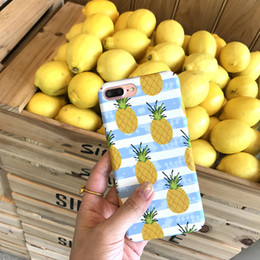 Wholesale Hard Fruits - Phone Case For iPhone 6 6s 7 7 Plus Cute Summer Pineapple Delicious Fruit Coque Blue And White Stripe Hard Back Cover Funda