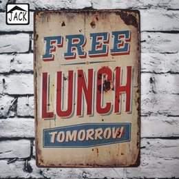 Wholesale Free Advertising Signs - 8x12inch Free Lunch Tomorrow Retro Advertising Vintage Metal Signs Poster Shabby Chic Tin Signs Bar Club Cafe Shop Wall Decor