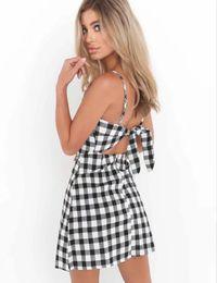 Wholesale Strapless Halter Beach Dress - Summer new European and American harness beach skirt sexy halter bow A word skirt summer explosion