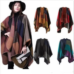 Wholesale Wholesale Scarf Stands - Plaid Poncho Cape Women Floral Wrap Vintage Winter Shawl Cardigan Blankets Cloak Coat Sweater Lady Fashion Scarf Knit Cashmere Scarves A3376