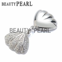Wholesale Shell Shaped Pendant - Bulk of 3 pieces Clear Cubic Zirconia 925 Sterling Silver Shell-shaped Pendant Blank for Pearls Pendant Mounting