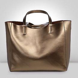 Wholesale Large Metallic Gold Handbag - Wholesale- Genuine Leather Large Space TOTE Women's Trendy Metallic Silver Gold A4 Size Big Shopping Shoulder Bag Handbag Bolsa 0602