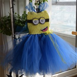 Wholesale Despicable Costumes - Minion Tutu Dress Costume Birthday Girl Dress Halloween Despicable Tutu Girl Dress