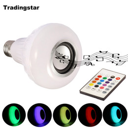 Wholesale Remote Leds - Smart E27 RGB Bluetooth Speaker LED Bulb Light 12W Dimmable RGBW Wireless Music Playing Leds Lamp with 24 Keys Remote Control