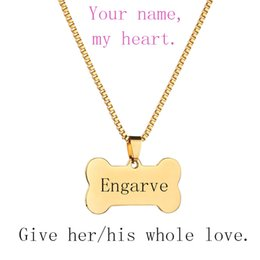 Wholesale Engraved Necklace Name - Personalized Tag Engraved Name Or Words Customized Necklace 3 Colors Blank Bone Shaped Pendant For Valentine's Day Gift