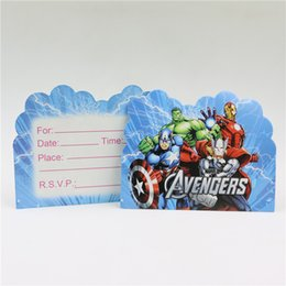 Wholesale 1st Birthday Party Favors - Wholesale- 10Pcs Kid Boy Baby Happy 1st Birthday Party Avenger Hero Cartoon Theme Invitation Cards Decoration Supplies Baby Shower Favors