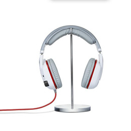 Tiendas de electronica online-Base de acrílico y etiqueta engomada del metal Titular de auricular para producto electrónico digital Tienda de tienda