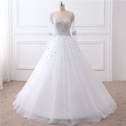 Wholesale Bridal Dress China Ball Gown - Free Shipping Long Sleeves Bridal Gowns From China Ball Gown Zipper Beading Wedding Dress Floor Length Real Photos