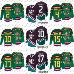 0bc5864a7 Mighty Ducks 2 Kevin Bieksa 4 Cam Fowler 10 Corey Perry 15 Ryan Getzlaf 17  Ryan Kesler Green Premier Purple Anniversary Hockey Jersey