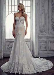 Wholesale Lace Boned Corset Wedding Dress - Alluring 2017 Sheer Lace Mermaid Wedding Dresses With Exposed Bones Sweetheart Neck Zipper Back Appliques Corset Wedding Dress Bridal Gowns