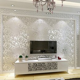 Wholesale Wallpaper Roll Grey - Wholesale-New Luxury Silver Grey Golden Reflective Wallpapers Living Room Flooring Stereoscopic Wallpaper for Walls 3 d Papier Peint WZ051