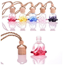 Wholesale Decorations Crystal Car - colorful 6ML crystal shape hanging car perfume glass bottle hanging decoration bottle car hanging accessories perfume bottle JF-076