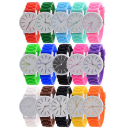 Wholesale jelly watch unisex - 100pcs Fashion Gift Candy Colors Women Men Geneva Watch Silicone Rubber Hollow Out Needle Watches Jelly Students Wristwatch