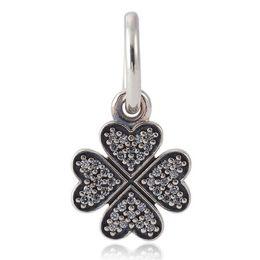 Wholesale Silver Clover Bead Charms - Authentic 925 Sterling Silver Bead Charm Lucky In Love Clover With Crystal Pendant Bead Fit Pandora Bracelet DIY Jewelry HKA3476