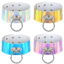 Wholesale Metal Slave Collars - Rainbow Laser PU Leather Necklace Metal Big Ring Charm Chokers Necklace Collar Sub Slave Necklace for Women Fashion Statement Jewelry 162087