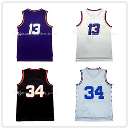 Wholesale Cheap Blacks Jerseys - High quality Cheap Men's #13 Steve Nash Jersey Throwback Mesh Charles Barkley #34 jersey 100% stitched Embroidered Logo Free Shipping