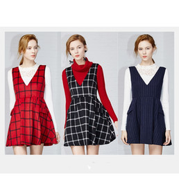 Wholesale Sexy Plaid Mini Skirt - 2016 free shopping winter new female Korean fashion Sexy & Club Zipper V-neck tartan skirt vest sleeveless dress skirt