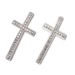 Wholesale Rhinestone Crystal Cross Bracelet Connector - Clear Rhinestone Crystal Cross Connectors,40pcs 49*23mm Silver Plated Cross Charms For DIY Bracelets Jewelry Findings SC703