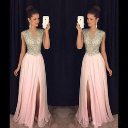Wholesale Evening Party Dressess - Blush Pink Beaded Long Prom Dressess 2017 Gorgeous Slit Cap Sleeve Evening Gowns Sheer Chiffon A-Line Special Occasion Party Dress