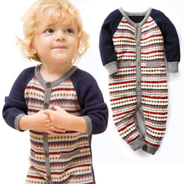 Wholesale Warm Rompers - Baby Boy Clothes Knitting Baby Rompers Winter Christmas Thicken Hooded Warm Baby Girl Clothes Roupas JY0291