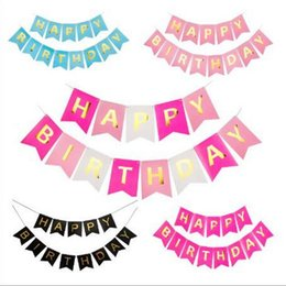 Banner di compleanno gratuito online-Trasporto libero Bambini Birthday Party Decorative Swallowtail Birthday Flag Felice Lettera Banner Fishtail Flag BF004 Banner Flags mix ordine