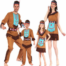 Wholesale Adult Indian Costumes - Women Men Boys Girls Indian Savage Costume Children Adults Cosplay Costumes Halloween Stage Performance Party Dress Decoration