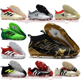 Wholesale Soccer Indoor Shoes Messi - 2017 Mens Football Boots ACE 17 PureControl FG Predator Mania Soccer Shoes X 16 PureChaos Soccer Cleats Tango IN TF NSG Messi Pureagility