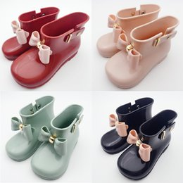 Wholesale Wholesale Baby Boots - Girls Rainshoes Kids Rain Shoes Rainboots Lovely Bow Galoshes Summer Princess Toddler Baby Waterproof Short Boots Free DHL 119