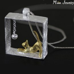 Wholesale Cat Colar - Wholesale-New Arrivals Drop Shipping 925 Sterling Silver Necklaces Rectangle Cat Pendants&Necklaces Jewelry Collar Colar de Plata