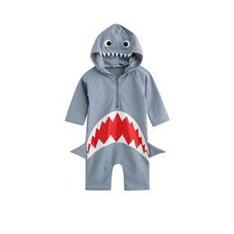 wholesale swimwear infants Promo Codes - Baby Girls boys Shark Hooded Swimwear Infants Swim jumpsuit Beach clothes Hot spring swimsuit for 3-7T