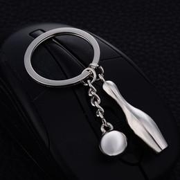 Wholesale Wholesale Bowling Jewelry Charms - 10PCS Chaveiro!Fashion Casual Bowling Pin Ball Keychains Charm Keyring Keyfobs Creative Metal Car Key Holder Jewelry Gift J026