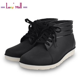 Wholesale Lace Up Rain Boots - Wholesale-2016 Classic Men's Leisure Waterproof Non-Slip Rain Boots for Men Mens Low Tube Lace-Up Rainshoes Black Botas De Lluvia