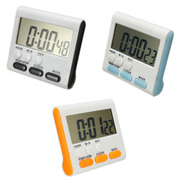 Wholesale Led Digital Count Up - Wholesale-Black Blue Yellow Magnetic LCD Digital Kitchen Cooking Timer Alarm Count Up Down Egg Clock 24 Hour