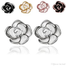 Wholesale Wholesale Nickle Plated Jewelry - Beautiful Rose Flower Pattern Stud Earring Classic Nickle Free for Women 18K Gold Plated & White Gold Plated Fashion Jewelry Earrings Gifts