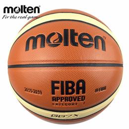 Leder geschmolzen online-Offizielle Größe 7 Geschmolzenes GG7 / GG7X Basketball PU Leder Homme Basketball Ball für IndoorOutdoor Training mit Korb Ball Net