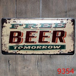 Wholesale coffee poster - 30x15cm FREE BEER Retro Metal Signs Vintage Bar Coffee Shop Decorations Tin Sign Plate Wall Art Poster Metal Paintings
