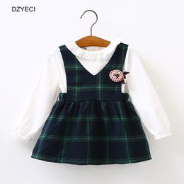 Wholesale Wholesale Plaid School Uniforms - Back To School Dresses For Baby Girl Uniform Clothes Autumn Winter Infnat Kid Flower Cotton Princess Party Frock Children Costume