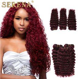 Wholesale Curly Burgundy Hair Extensions - 7A Grade Peruvian 3 Bundles 99J Deep Curly Human Hair Bundles Burgundy Deep Wave Human Hair Weaves Wine Red Peruvian Cheap Hair Extensions