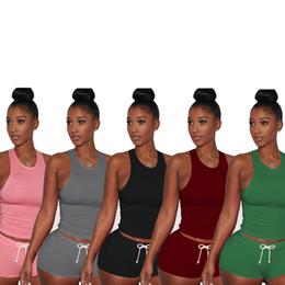Wholesale Women Purple Vest - Summer Two Piece Set Women Sexy Tracksuit Ensemble Femme Beach Sweat Suit Vest Crop Top+ Shorts Bodysuit Outfits Suit 3147 Plus Size XXL