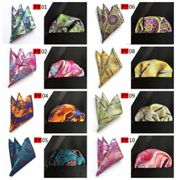 Wholesale Men Tie Hanky - 2017 New Arriver Men Paisley tie Pattern Pocket Square Handkerchief Silk Paisley Men Hankies for Men Suit Square