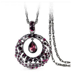 Wholesale Drop Ship Long Dresses - New Free Shipping Fashion high quanlity crystal sweater women pendant necklace long drop necklace party dress jewelry gift