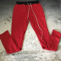 Wholesale Pencils Draw - New Fear Of God Contrast Waistline Joggers Zipped Ankel Long Draw Cord Slim Fit Pants Vintage Red Free Shipping