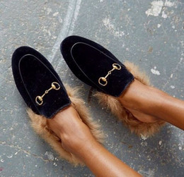 Wholesale Party Dress Patterns For Ladies - 2016 Women Real Rabbit Fur Metallic Decor Snake Pattern Cow Leather Flat Slipper Shoes Slingback Cozy Fats Shoes for Ladies