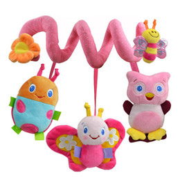 Wholesale Pink Baby Girl Bedding - Wholesale- Christmas Soft Musical Animal Bee Pink Hanging Toys Plush Crib Bed Car Hanging Hand Rattles Baby Toys Girl Boy Gift Toys